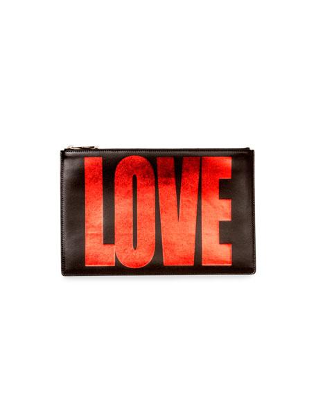 Medium Love Flat Pouch, Black/Red
