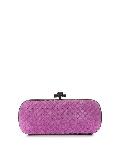 Snakeskin-Trim Quilted-Velvet Knot Clutch Bag, Pink