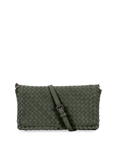 Bottega Veneta Small Intrecciato Flap Clutch Bag w/Strap,
