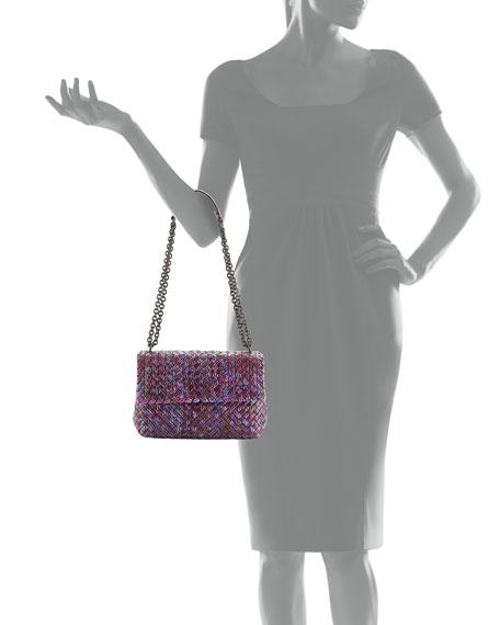 Medium Tweed-Print Intrecciato Watersnake Shoulder Bag, Pink