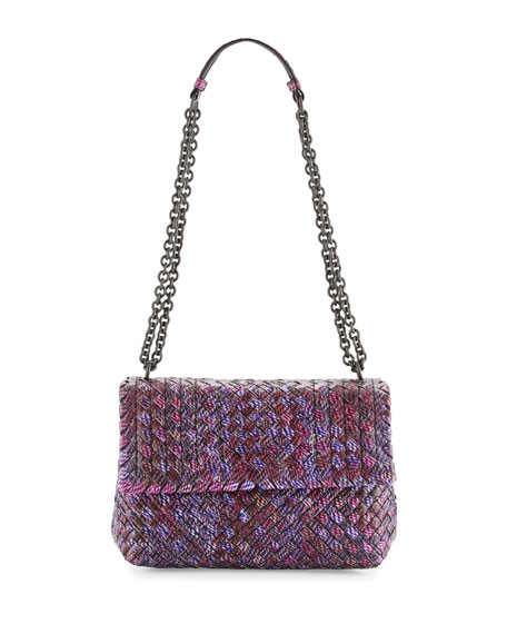 Medium Tweed-Print Intrecciato Watersnake Shoulder Bag, Pink