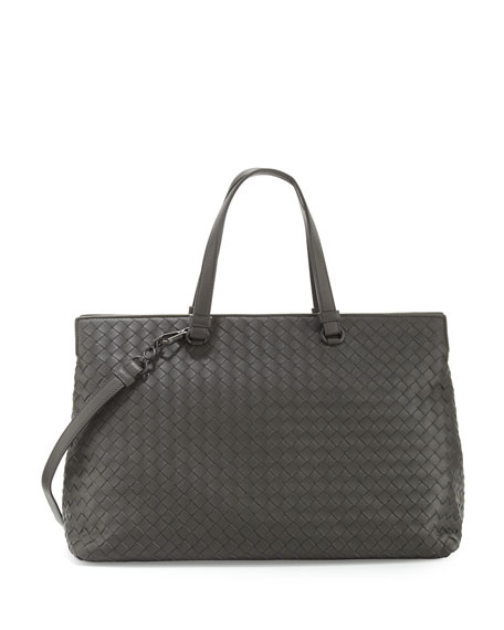 Large Double-Compartment Lambskin Tote Bag