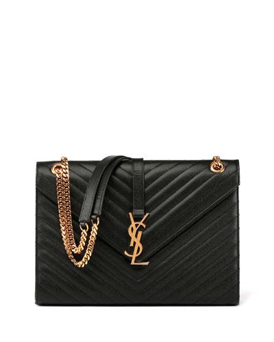 Monogram Matelasse Leather Chain-Strap Shoulder Bag, Black