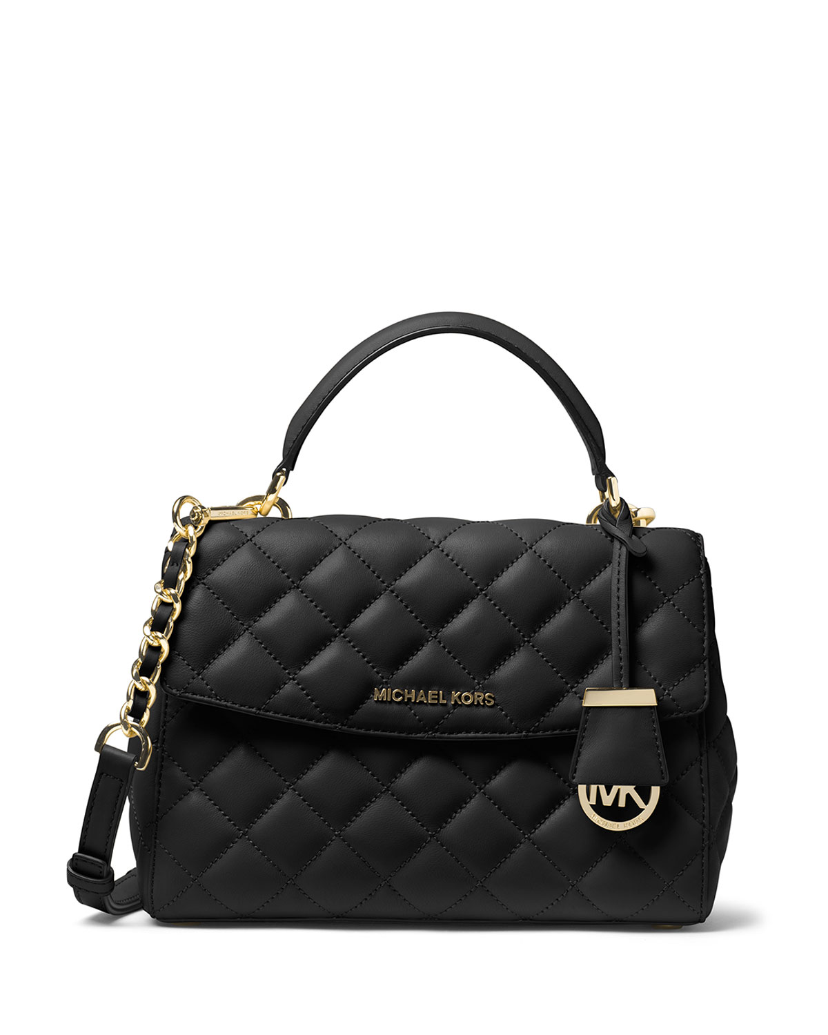 455d74421a51 MICHAEL Michael Kors Ava Small Quilted Leather Satchel Bag, Black ...