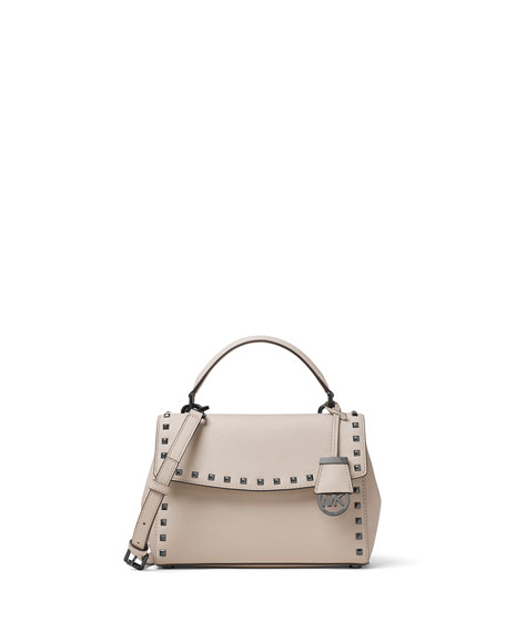 Ava Stud Small Satchel Bag, Cement