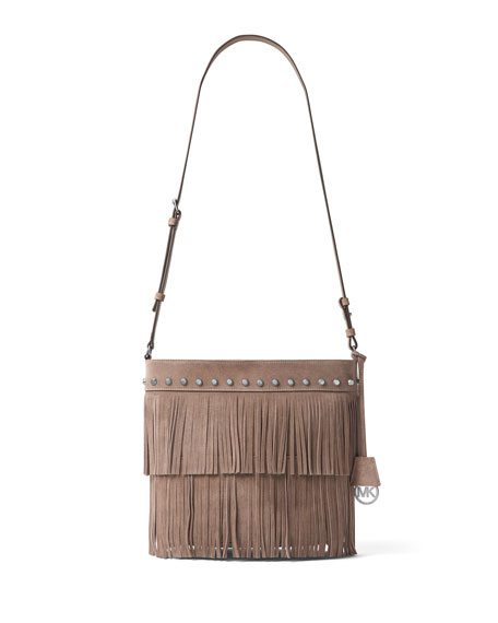 Michael Kors Billy Medium Fringe Convertible Shoulder Bag Dark Dune Neiman Marcus