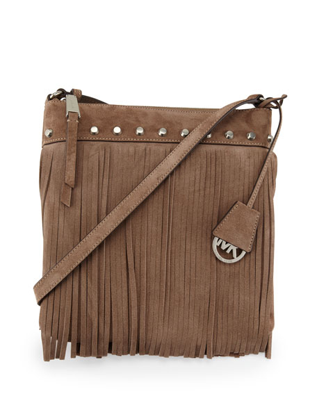 Billy Small Fringe Messenger Bag, Dark Dune