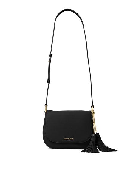 MICHAEL Michael Kors Elyse Large Leather Saddle Bag,