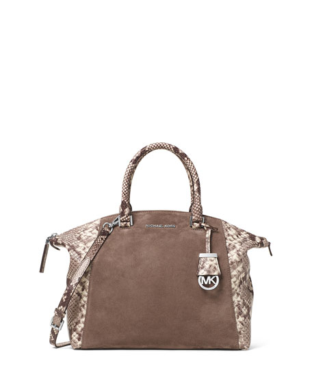 MICHAEL Michael Kors Riley Large Python-Embossed Satchel Bag, Dark ...