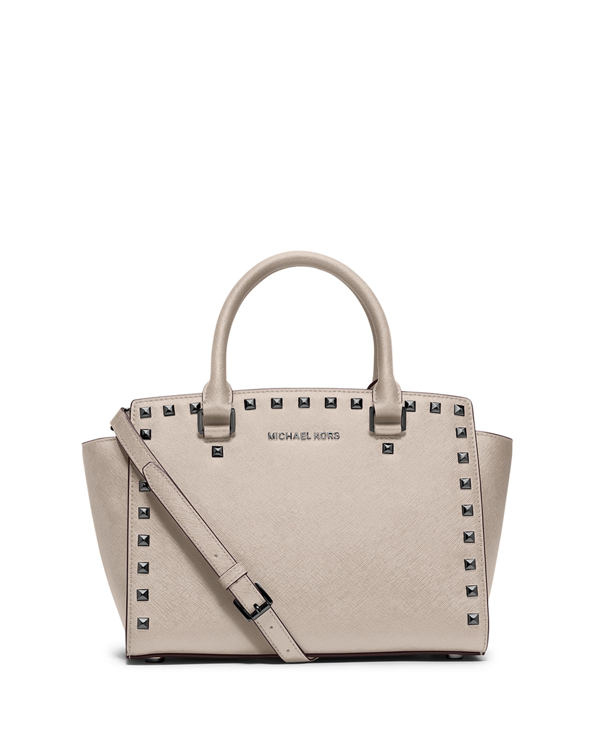 d1ca84b602677e MICHAEL Michael Kors Selma Stud Medium Top-Zip Satchel Bag, Cement ...