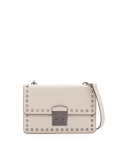 Sloan Studded Large Gusset Crossbody Bag, Cement