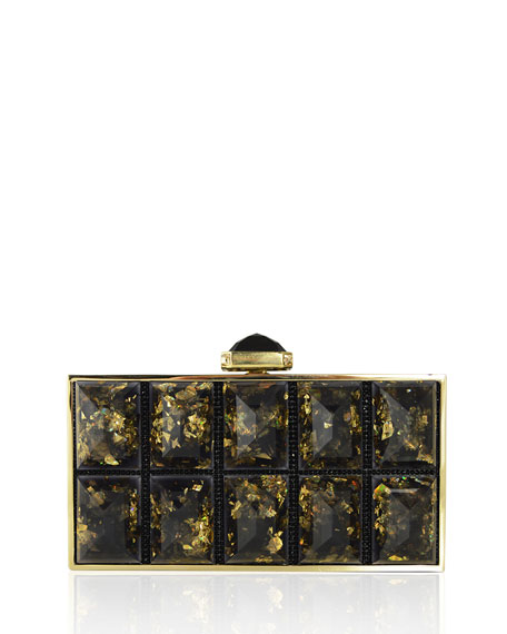 Perfect Rectangle Clutch Bag, Champagne/Black/Gold