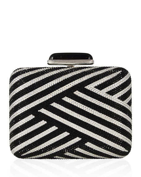 Large Slim Rectangle Crystal Clutch Bag, Silver/Jet