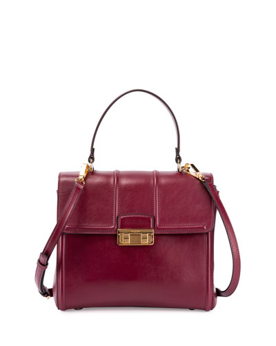 Jiji Small Top-Handle Satchel Bag, Burgundy