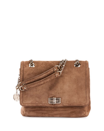 Happy Medium Suede Shoulder Bag, Dark Beige