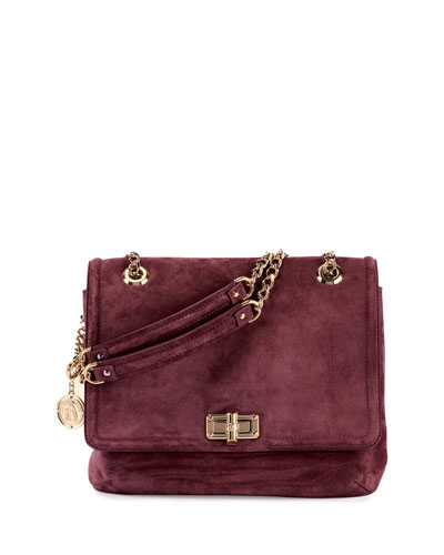 Happy Medium Suede Shoulder Bag, Aubergine