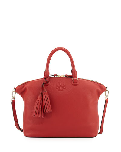 Thea Medium Slouchy Leather Satchel Bag, Rusty Red