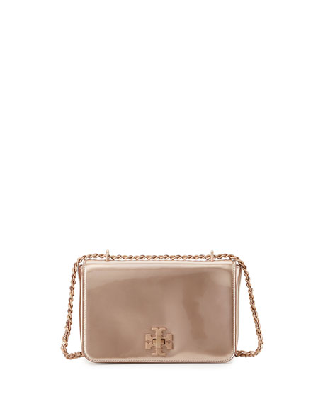 Tory Burch Mercer Metallic PVC Shoulder Bag, Rose Gold