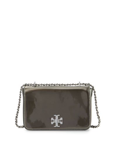 Mercer Metallic Leather Shoulder Bag, Anthracite