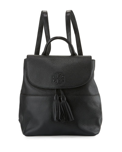 Thea Mini Leather Backpack, Black