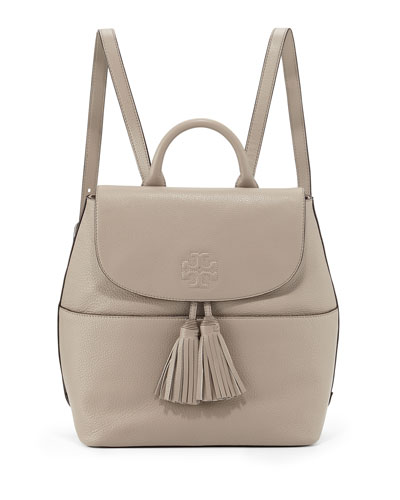 Thea Mini Leather Backpack, French Gray