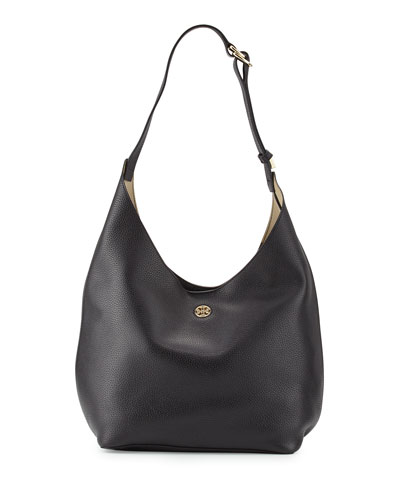 Perry Leather Hobo Bag, Black