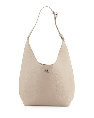 Perry Leather Hobo Bag, French Gray