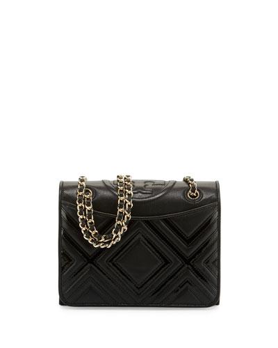 Fleming Geometric Medium Leather Shoulder Bag, Black