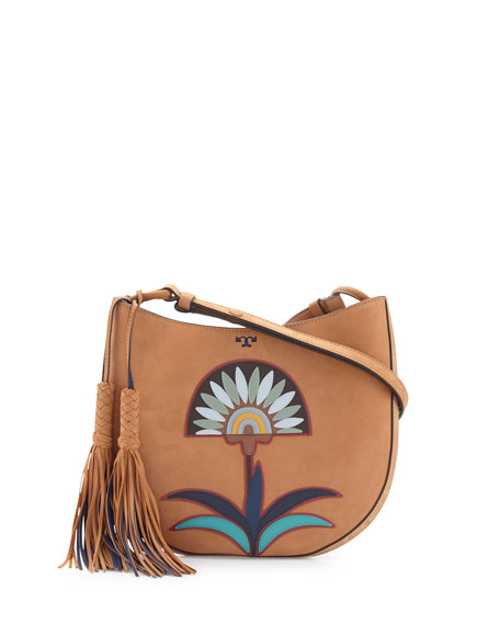 Utopia Appliqué Hobo Bag, Camello