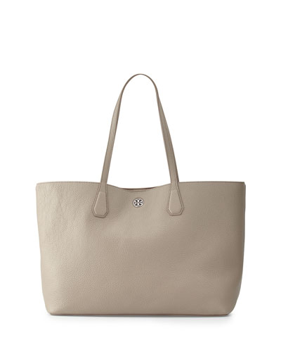 Perry Leather Tote Bag, French Gray
