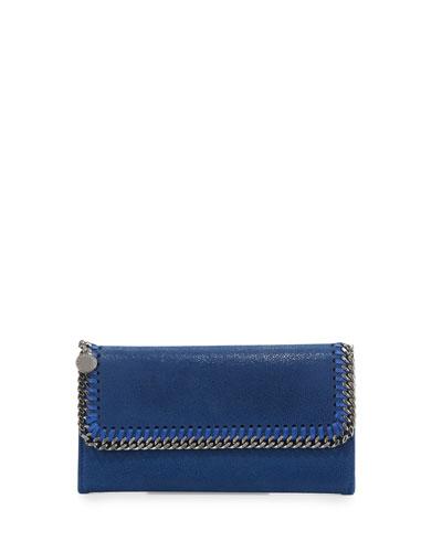Falabella Flap-Top Wallet, Blue