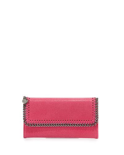 Falabella Flap-Top Wallet, Hot Pink