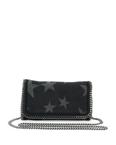 Falabella Star-Print Denim Crossbody Clutch Bag, Black