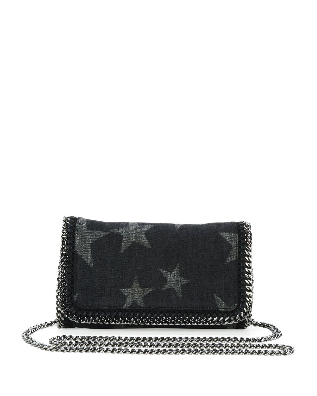 67a68b9bc357 Stella McCartney Falabella Star-Print Denim Crossbody Clutch Bag ...