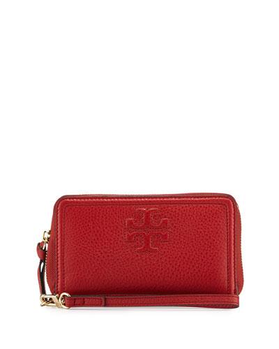 Thea Zip-Around Smartphone Wristlet, Rust Red