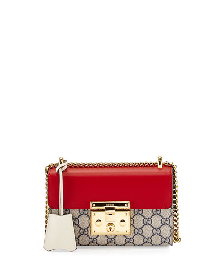 Gucci Padlock GG Supreme Small Shoulder Bag, Beige/Red