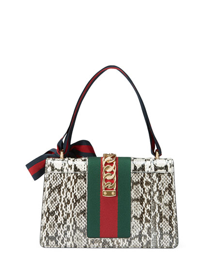 Sylvie Small Snakeskin Shoulder Bag, Roccia