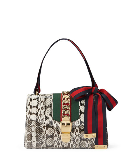 Gucci Sylvie Small Snakeskin Shoulder Bag, Roccia