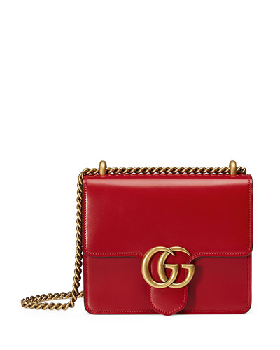 GG Marmont Small Leather Shoulder Bag, Red