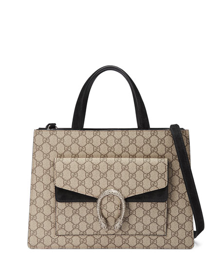 Dionysus Medium GG Supreme Tote Bag, Beige/Ebony/Nero