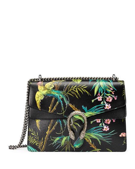 Gucci Dionysus Medium Tropical-Print Shoulder Bag, Black/Multi