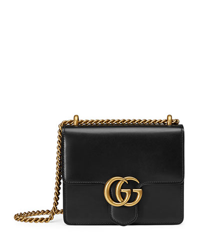 GG Marmont Small Leather Shoulder Bag, Black
