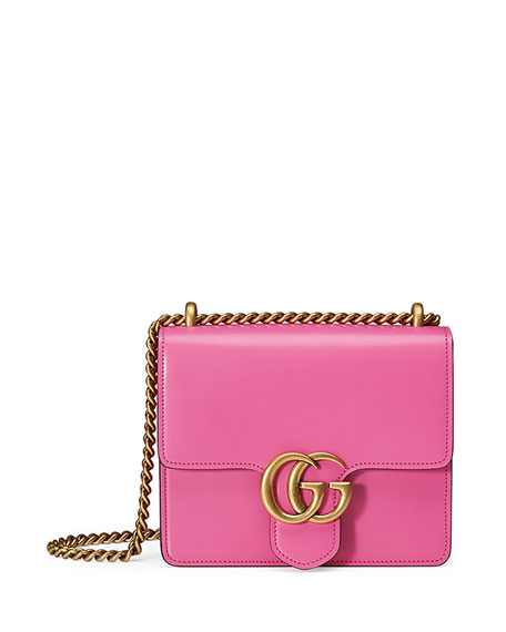 Gucci GG Marmont Small Leather Shoulder Bag, Bright Pink