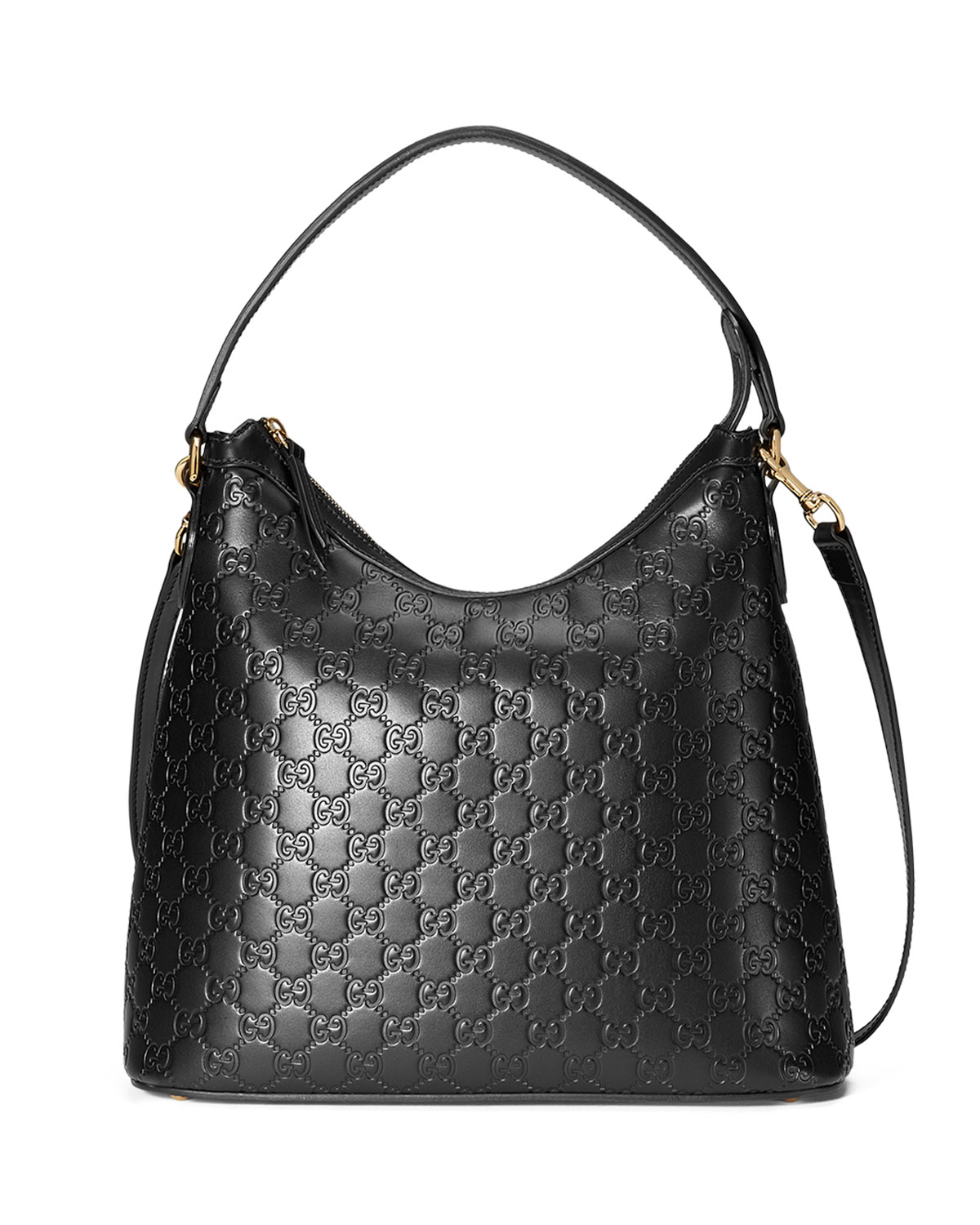 4f49025aca28 Gucci Guccissima Medium Hobo Bag, Black | Neiman Marcus