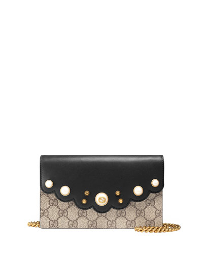 Peony GG Supreme Pearly Mini Wallet-On-Chain, Black