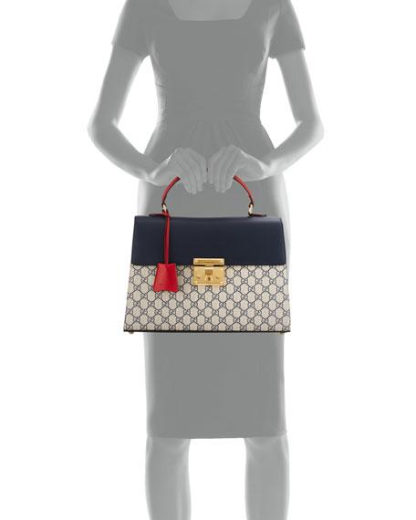 Padlock GG Supreme Top-Handle Satchel Bag, Beige/Blue/Red