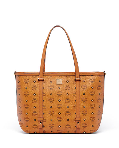 Gold Visetos Medium Shopper Bag, Cognac