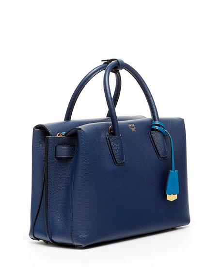 Milla Medium Leather Tote Bag, Navy Blue