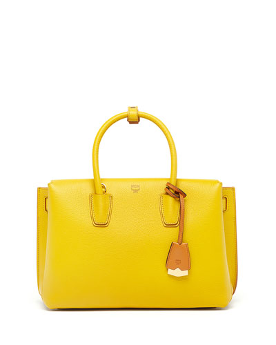 Milla Medium Leather Tote Bag, Sahara Yellow