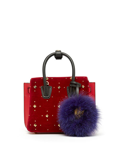 MCM Milla Mini Studded Tote Bag, Ruby Red